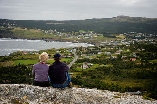 At a high point along the trail overlooking Pouch Cove.