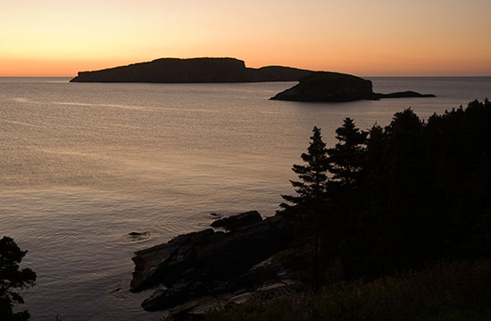 Sunrise on the Witless Bay Ecological Preserve.