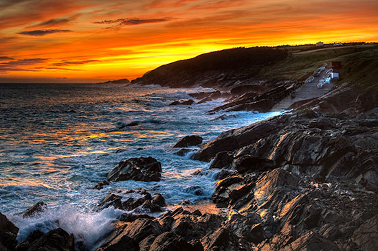 Sunrise over Pouch Cove on our last morning in Newfoundland.