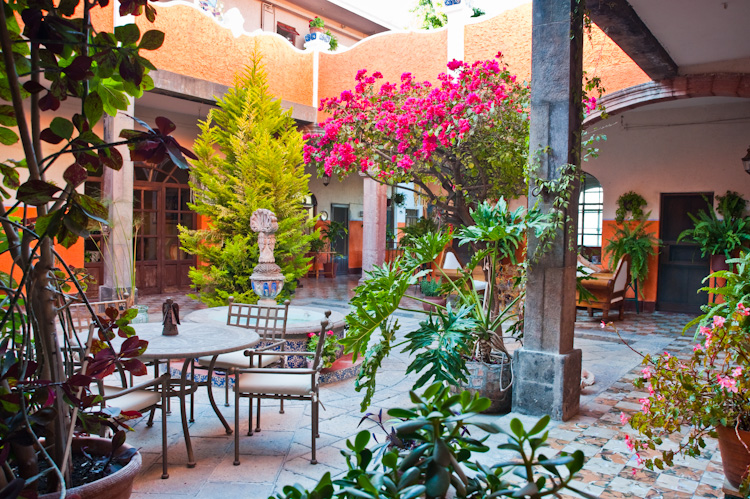 The lovely, plant filled courtyard of Casa Englebrecht.