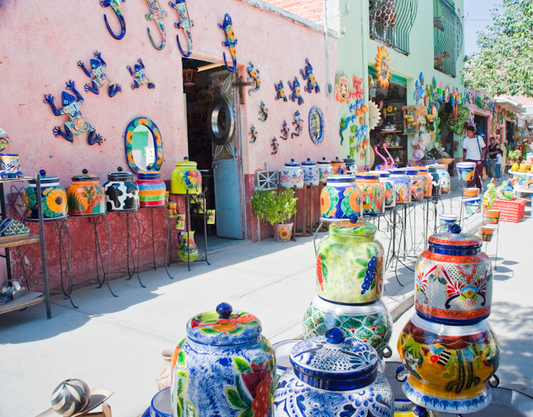 Ceramics stores along the streets of Dolores Hidalgo.