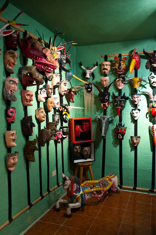 A few of the masks for sale, not part of the collection, at the Casa de la Cuesta.