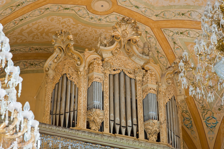 The elegant Baroque organ in the Basilica of Guanajuato
