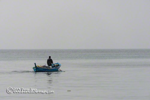 Kusadasi, Turkey Fisherman rowing boat