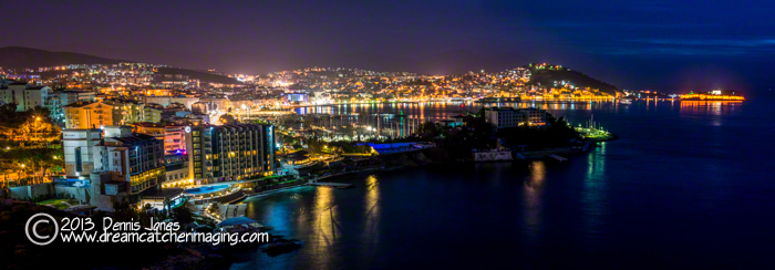 Kusadasi. Turkey  panorama at night