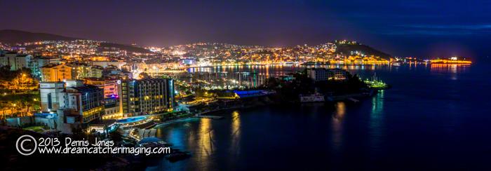 Kusadasi. Turkey panorama at night