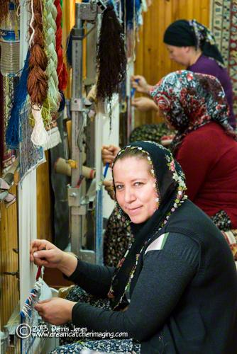Weaving Turkish carpet Cappodocia Turkey